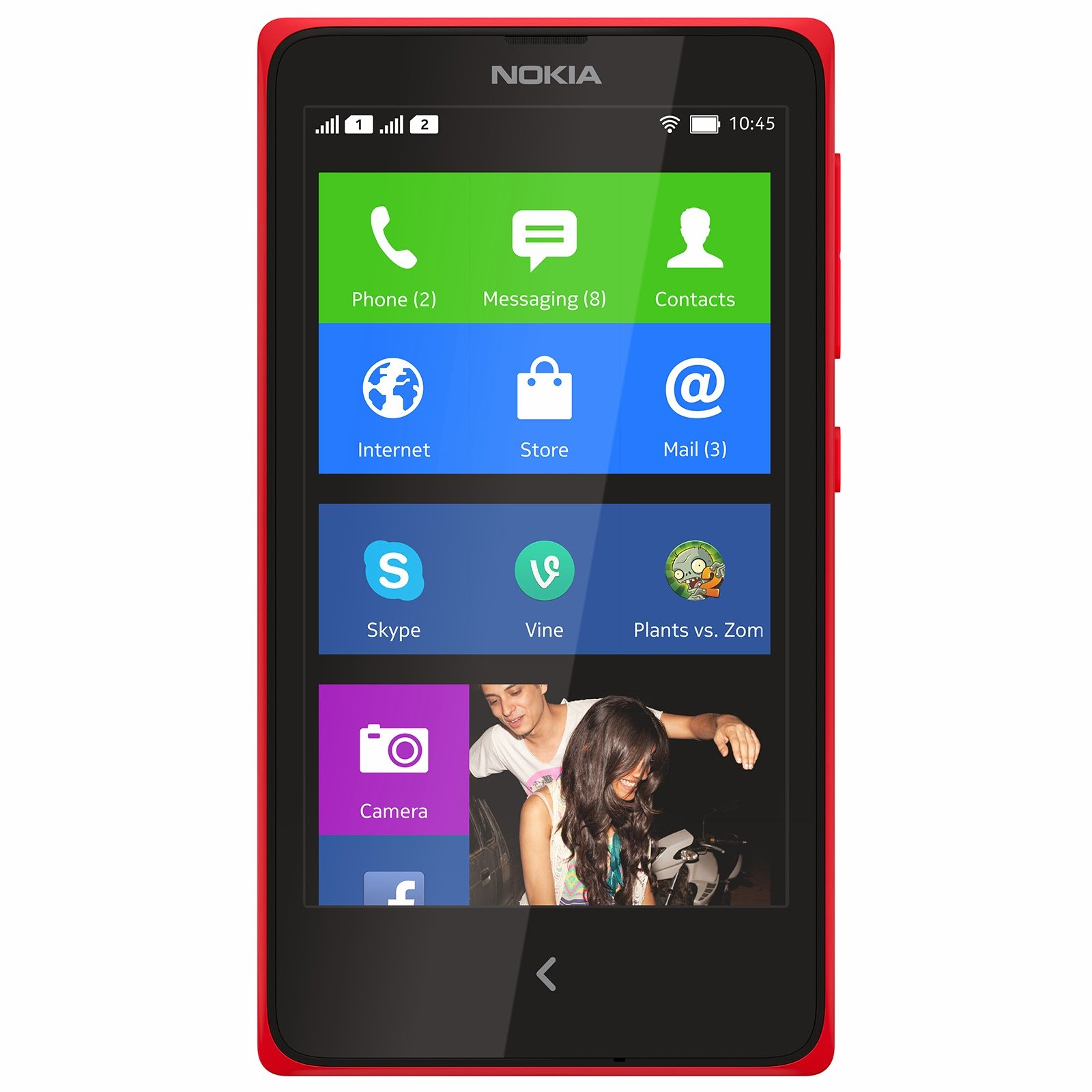 nokia x front red skype