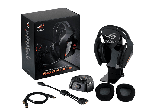 ROG Centurion True 7.1 surround gaming headset whats in the box